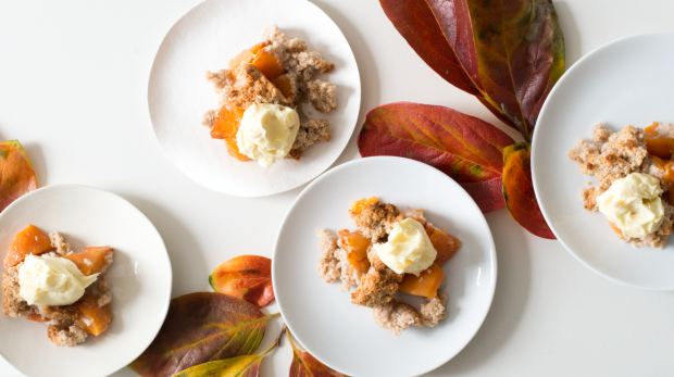 Honey baked persimmons with coconut crumble and ginger mascarpone
